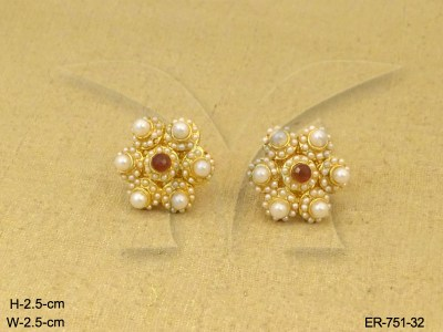 Antique Earrings : Delicate Moti Tops Antique Earrings ...