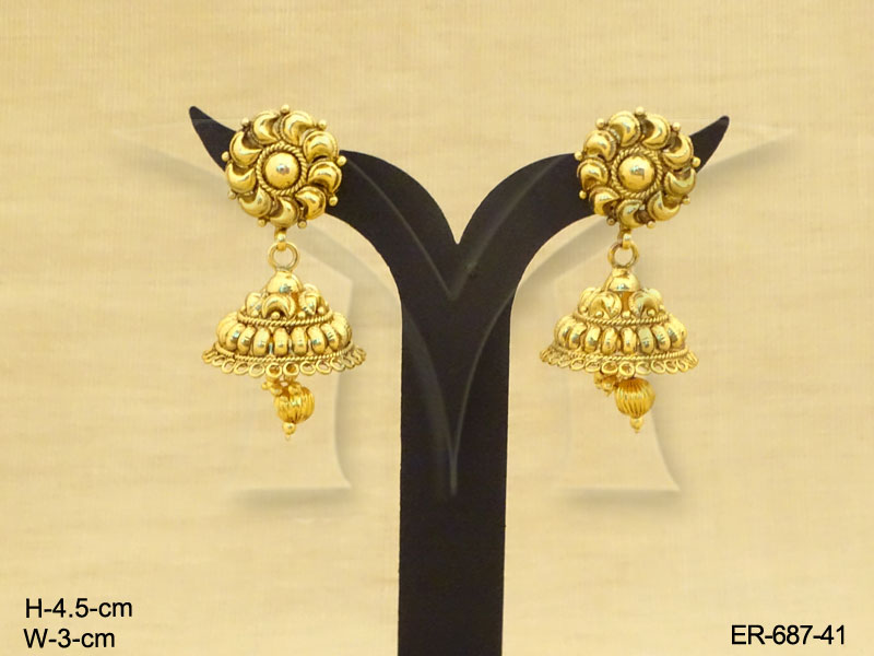 Antique Earrings : Flower Gold Design Antique Earrings - Antique ...