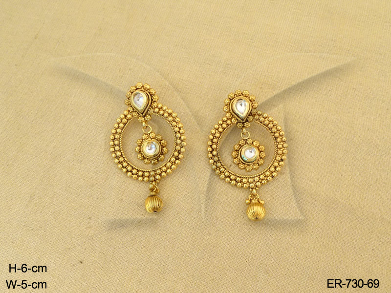 Antique Earrings Round Gold Design Jewelry Designer Plated Jewellery Imitation