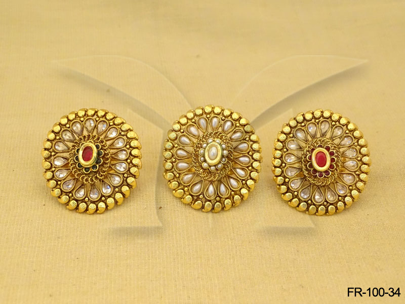 Antique Finger Rings Koyari Paanshape Design Finger Ring