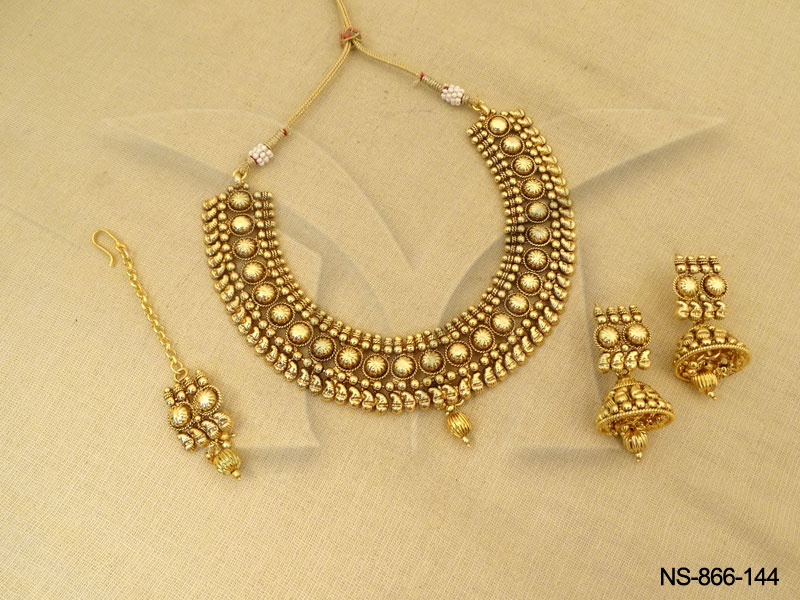 Antique Necklaces  Latest Golden Plated Policing Jumki With Antique Necklaces & ANTIQUE NECKLACE SETS Archives - Page 12 of 13 - Antique Jewelry ...