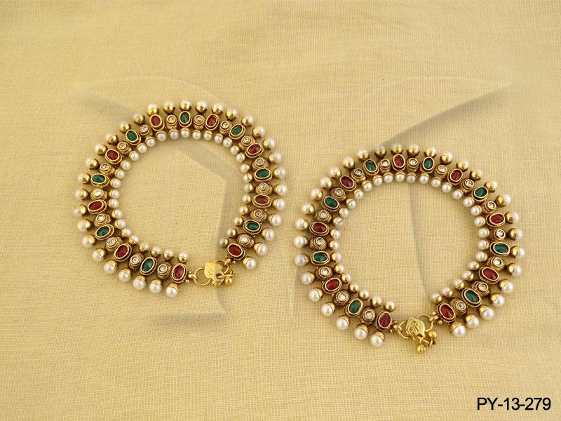 Antique Payal : Ruby Green Moti Payal Jewellery - Antique Jewelry ...