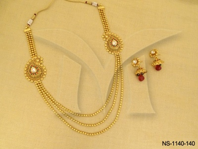 Antique jewellery kairi two side pendant triple chain necklace antique jewellery kairi two side pendant triple chain necklace sets manek ratna antique jewelry designer gold plated jewellery imitation jewellery mozeypictures Images