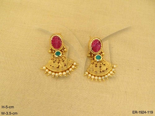 Antique Jewellery Pendulam Spiral Oval Hold Earrings Manek Ratna Jewelry Designer Gold Plated Imitation