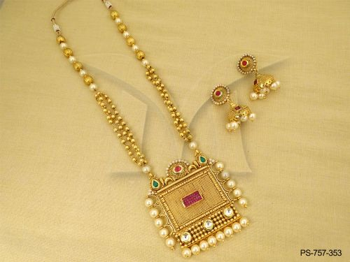 Antique pendant sets archives antique jewelry designer gold antique jewellery square moti bordered antique designer pendant set manek ratna aloadofball Image collections