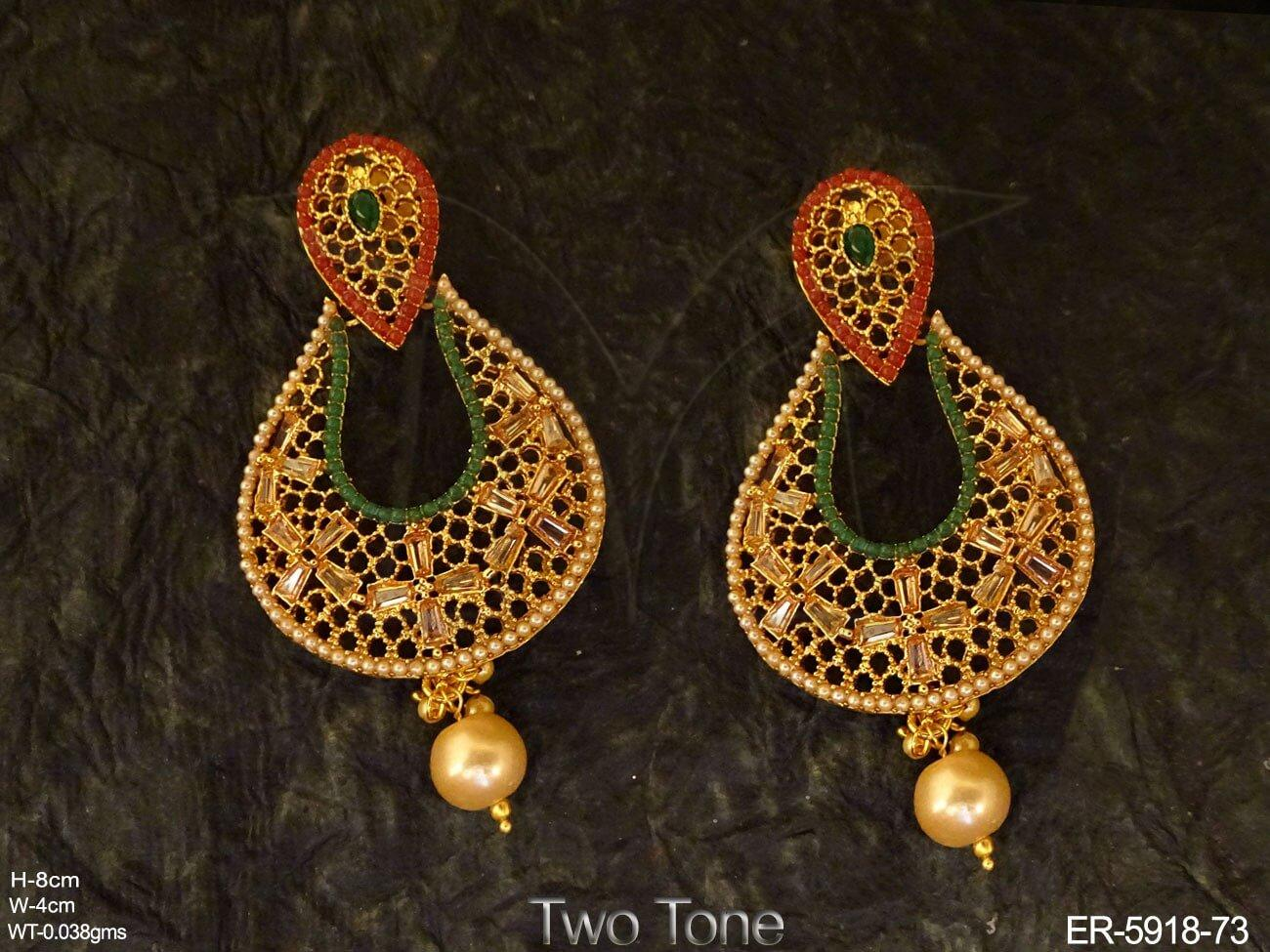 Antique Style Chandbali Earrings