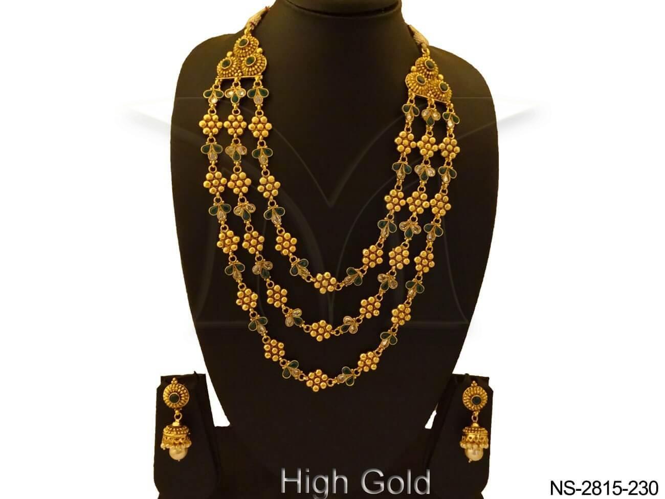 Long Triple Layer Antique Necklace